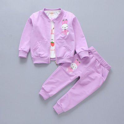 女童春装女宝宝卡通卫衣三件外套装韩版婴儿洋气衣服小女孩运动装
