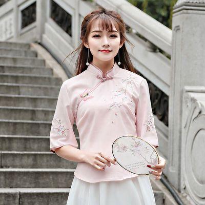 春夏汉服女学生古装复古民国风旗袍绣花雪纺长裙日常古装中国风唐