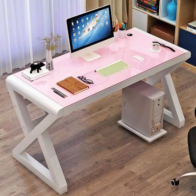 热销电脑桌台式家用简约现代办公桌钢化玻璃写字桌经济型儿童学习