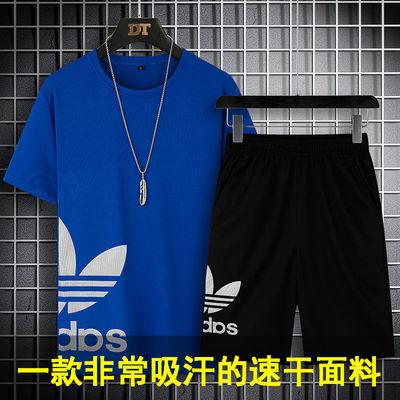 夏季速干运动服套装短袖短裤薄款韩版透气休闲套装男装宽松跑步服