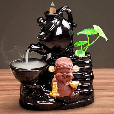 爆款倒流香炉创意高山流水陶瓷檀香炉家用室内流烟香熏香炉小和尚