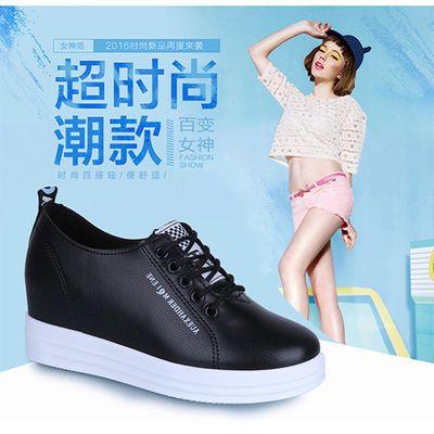 名欧鸟2019秋季休闲鞋女韩版内增高女鞋小白鞋系带厚底单鞋学生鞋
