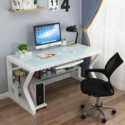 热销电脑桌台式家用简约现代经济型书桌钢化玻璃学习办公桌游戏经