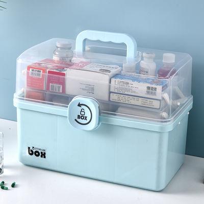 热销家用多规格透明药箱超大号药箱化妆品收纳箱手提箱医药箱急救