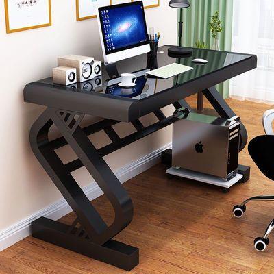 热销电脑桌办公桌台式桌家用简约现代经济型书桌钢化玻璃电脑桌学