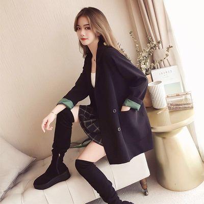 2020春秋新款西装外套女中长款韩版宽松黑色休闲双排扣百搭小西服