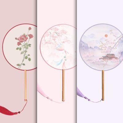 古风扇子团扇中国风舞蹈夏季古典古装宫廷汉服女式长柄流苏小圆扇