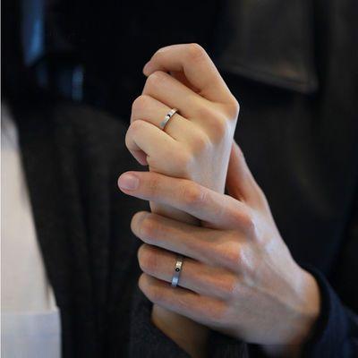 S925银日月戒指女男时尚个性日式轻奢异地恋对戒情侣款一对开口戒