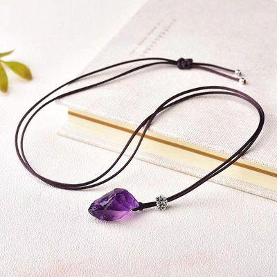 【助学业】天然紫水晶原石吊坠男女项链锁骨链简约生日礼物送情侣