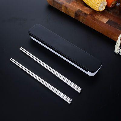 304不锈钢家用吃饭筷子勺子套装儿童小汤勺子家用高档盒子家庭装