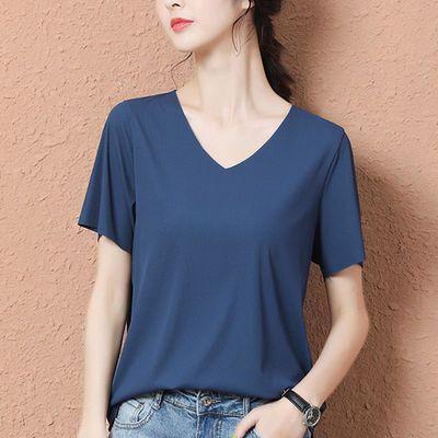 40323/新款冰丝短袖t恤春夏季纯色女2020薄款潮V领体恤韩版白色宽松上衣