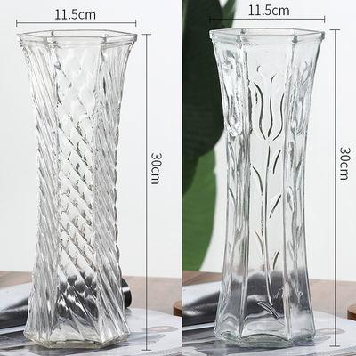 简约大号透明六角玻璃花瓶水培百合富贵竹鲜花插花瓶客厅家用摆件