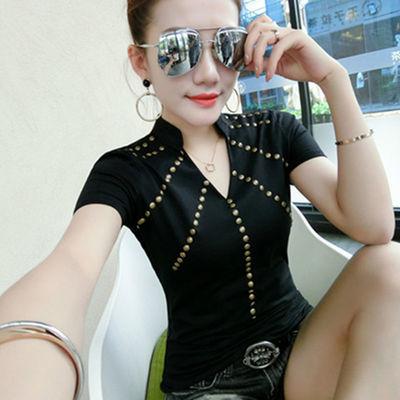 90棉夏天新款时尚V领短袖t恤女装修身显瘦半袖体恤百搭紧身上衣潮