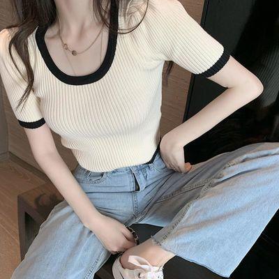 8571/低领撞色冰丝短袖小众短款高腰露脐上衣修身显瘦2021夏新款针织衫