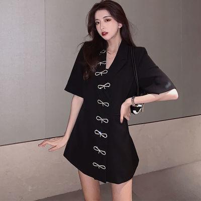 加肥加大码夏季新款V领黑色连衣裙胖妹妹遮肚子显瘦西装裙子200斤