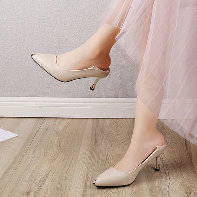 【一鞋两穿】黑色高跟鞋女新款韩版百搭细跟尖头浅口套脚职业单鞋