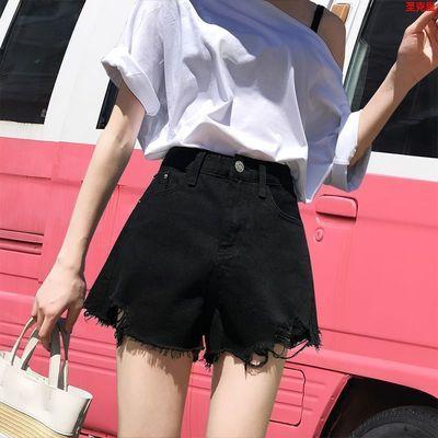 牛仔短裤女高腰夏a字短裤阔腿破洞韩版黑色潮特色毛边热卖新款