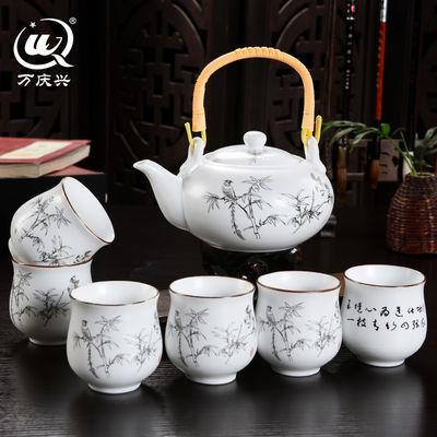 亚光提梁壶茶具套装家用整套大容量送礼佳品中式陶瓷简约茶壶套装