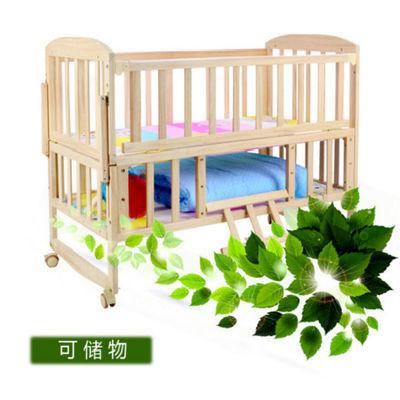 热销儿童床拼接大床双层婴儿床轮子童床实木带护栏小床实木童床上