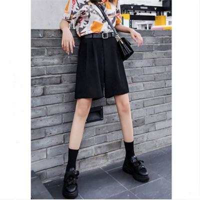2020新款夏季黑色高腰冰丝西装短裤女宽松阔腿薄款五分裤港味显瘦