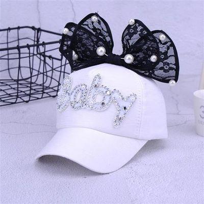 新款儿童小兔子网帽夏季男女宝宝卡通亮片耳朵鸭舌帽户外遮阳帽子