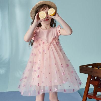 SNOOPY史努比女童连衣裙2020夏装新品儿童裙子爱心网纱裙公主裙