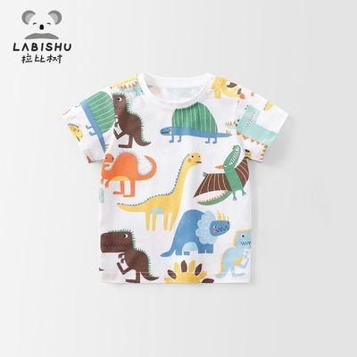 拉比树童装男童短袖夏季 宝宝纯棉T恤 儿童卡通图案短袖上衣体恤