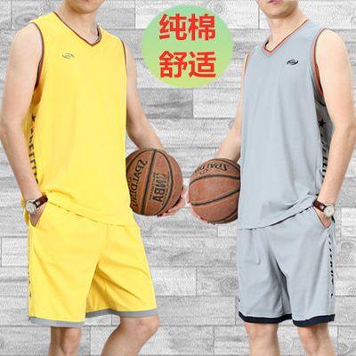 运动套装男夏季篮球服跑步健身比赛队服纯棉大码背心短裤速干球衣