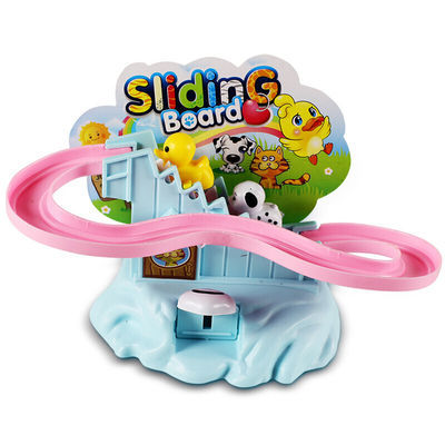 74143/儿童卡通动物旋转滑梯 小玩具 小鸭子手动非电动轨道爬楼梯玩具
