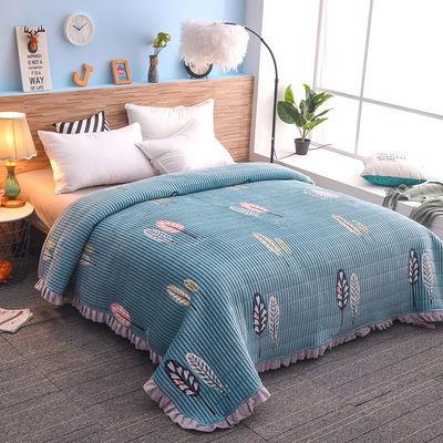新款水晶绒花边床盖毛毯保暖法兰绒毯绗缝夹棉AB面冬季加厚床单盖