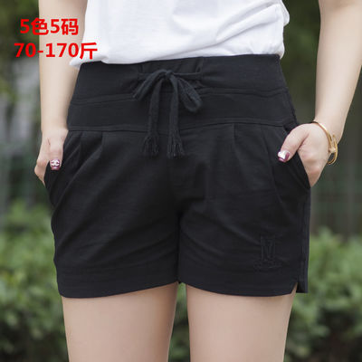蜀佳人夏季新款好质量棉麻短裤女糖果色大码裤女士打底裤学生裤
