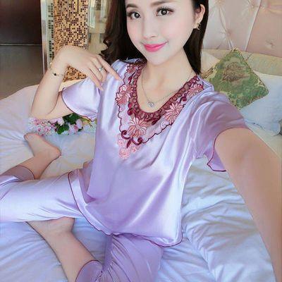 睡衣女夏冰丝新款短袖丝绸两件套夏天性感女士薄款春秋可外穿套装