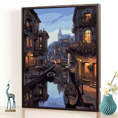 爆款DIY数字油画 风景建筑客厅现代简约情侣大幅手绘装饰画 梦幻