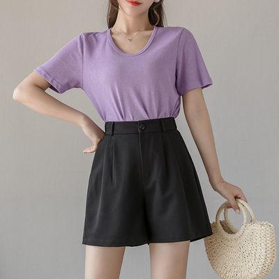 2020夏季女士新款垂感西装休闲黑色短裤高腰冰爽阔腿裤时尚百搭潮