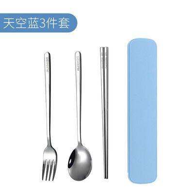 304不锈钢韩式便携餐具盒筷子勺子套装学生三件套叉子可爱创意