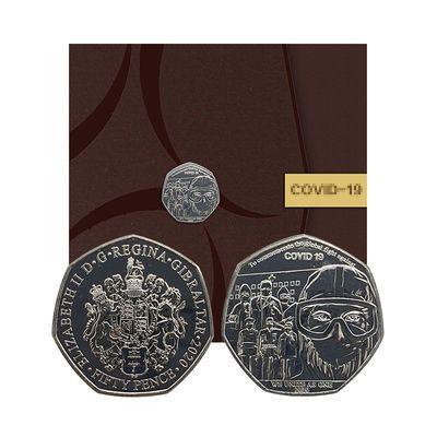 2020英国伦敦造币厂发行抗疫纪念币50便士保真致敬全球英雄加油吧