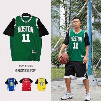 欧文11号球衣短袖假两件 库里詹姆斯T恤男女情侣款篮球运动裤套装