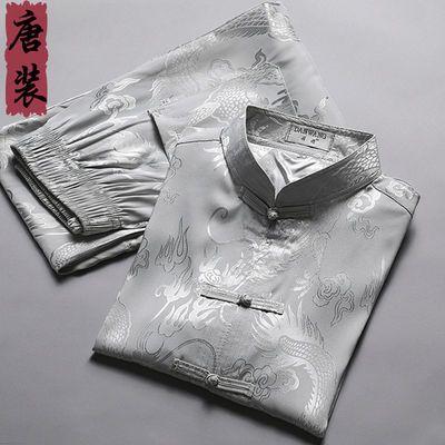 冰丝唐装男士中老年人短袖套装爷爷夏装中国风仿真丝绸爸爸装复古