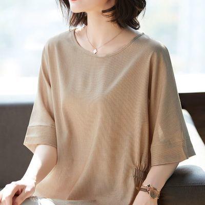 2020年夏季大码女装新款宽松显瘦遮肚中长款胖mm蝙蝠袖T恤上衣女