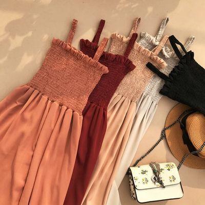 妹妹2020夏季新款木耳边压褶显瘦高腰吊带连衣裙大摆荷叶边中长裙