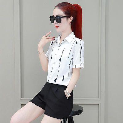 条纹衬衫女长袖2020春夏装新款韩版短袖白衬衣修身女士打底雪纺衫
