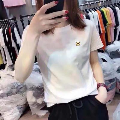 棉质小雏菊刺绣短袖t恤女2020夏装新款韩版白色半袖打底衫上衣服