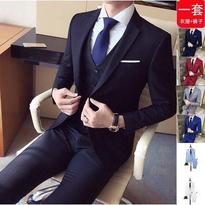 西服套装三件套男士韩版修身职业正装商务休闲小西装伴郎结婚礼服