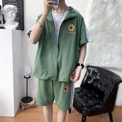 小雏菊刺绣运动套装男短裤两件套潮牌宽松学生运动服夏季休闲薄款