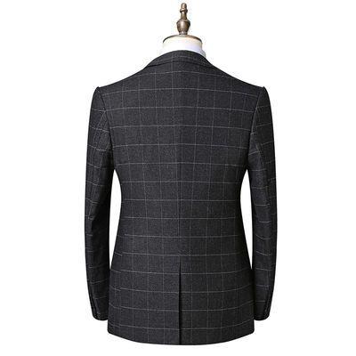 新款西服套装男士格子条纹韩版修身商务正装西装新郎伴郎结婚礼服