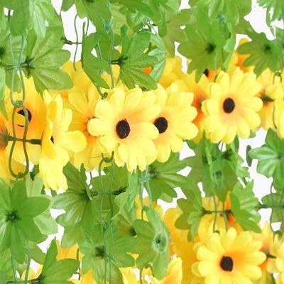 假花藤条仿真花装饰空调管道遮挡缠绕塑料花绿叶藤蔓向日葵太阳花