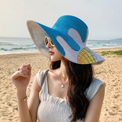 手绘草帽涂鸦草帽子女夏天沙滩帽可折叠彩色大沿遮阳帽沙滩帽海边