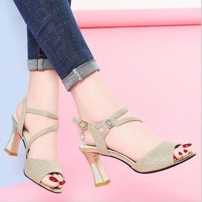 女式凉鞋女新款2020夏季新款细跟高跟鞋韩版仙女风一字扣中跟女鞋
