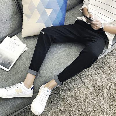 gd权志龙同款裤子牛仔裤男韩版潮流修身黑色九分小脚裤学生休闲裤