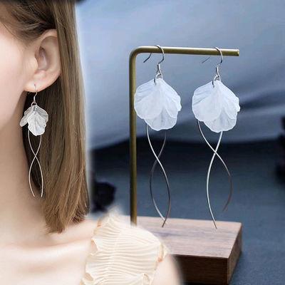 蓝水晶花朵耳环女S925银耳针韩版耳钉时尚耳扣气质花瓣耳坠耳饰品